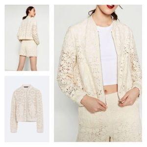 Zara | Lace bomber jacket
